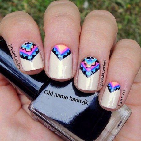 Beautiful Aztec Nail Art Designs For Young Girls 8