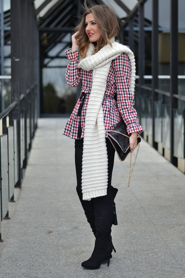 winter outfit with clutch
