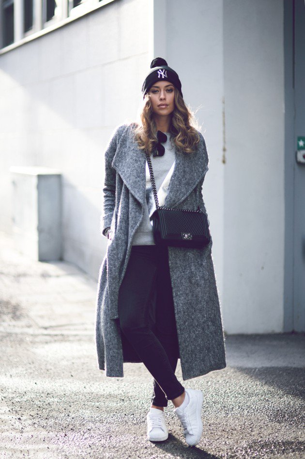 grey coat in winter