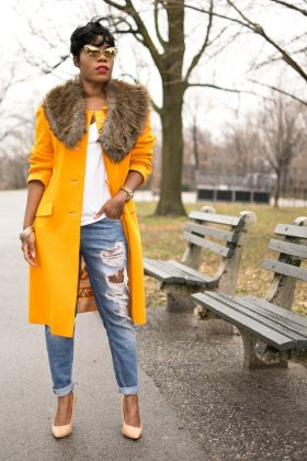 winter coat in yellow