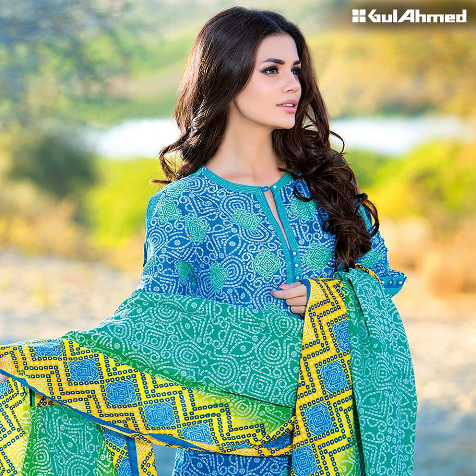 Gul Ahmed Bandhani Lawn Collection Party Wear Dresses 2016
