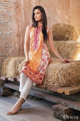 Net Lawn Embroidered Kurti Orient Textile Collection 2016