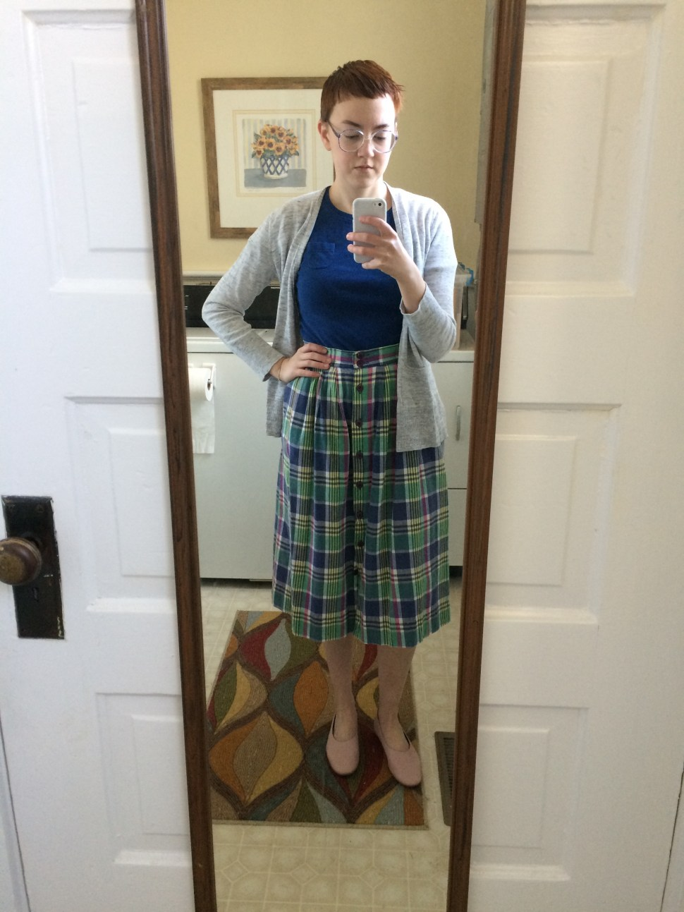 Outfit One: Thrifted clothing; Shoes -  Everlane Day Glove ; Retrospecced glasses