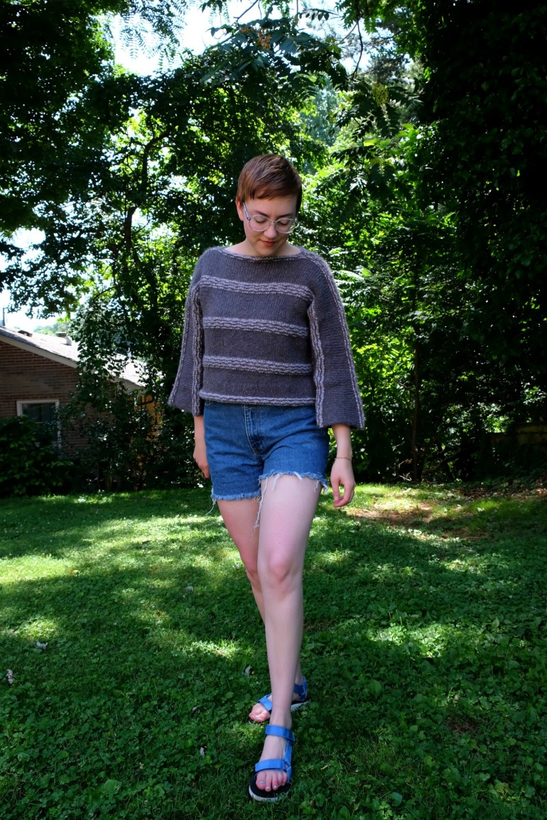 Ethical Details: Sweater - c/o  Mantari ; Shorts - thrifted ( similar ); Sandals - Teva (secondhand via  ebay )