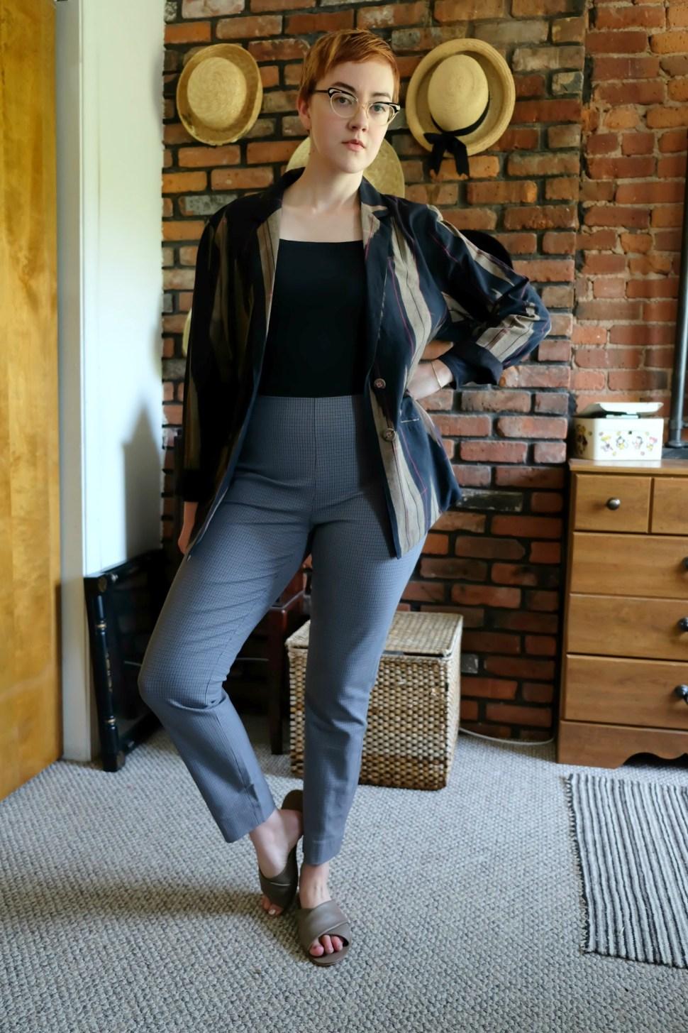 Outfit Details:  Bodysuit  - Everlane;  Pants  - c/o Everlane;  Sandals  - Everlane; Blazer - c/o  MATTER Prints