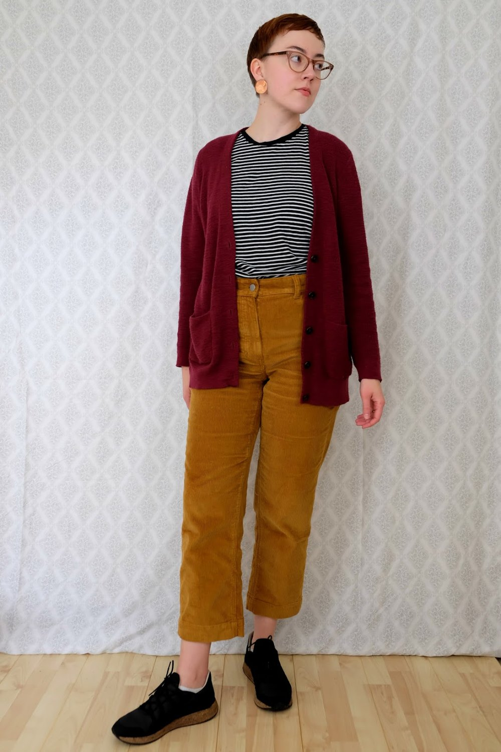 everlane corduroy straight jean in golden brown styling and review stylewise-blog.com