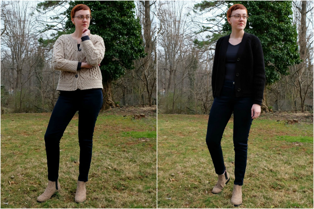 everlane texture cotton cardigan review and vintage sweater stylewise-blog.com