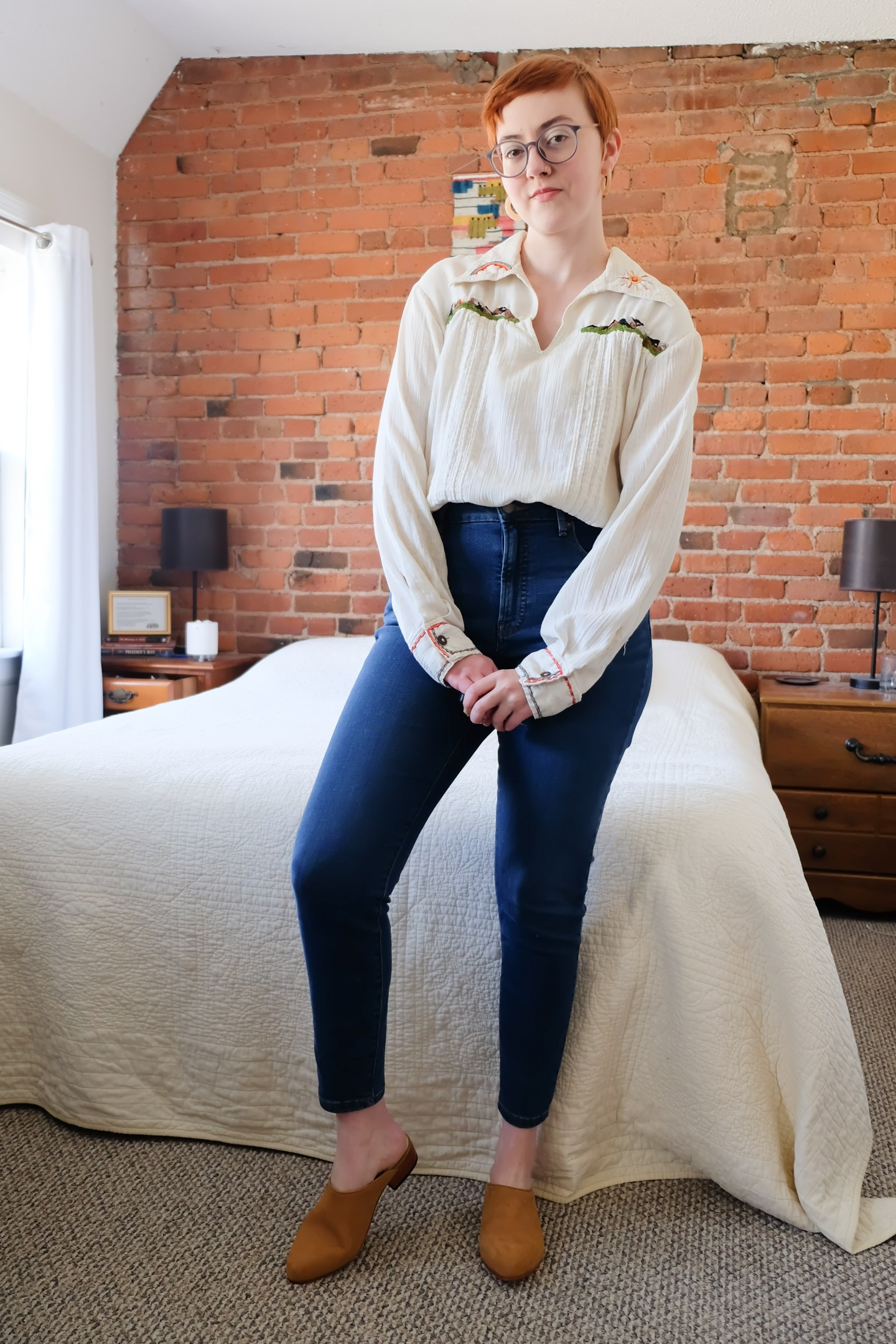 Everlane Denim and embroidered blouse