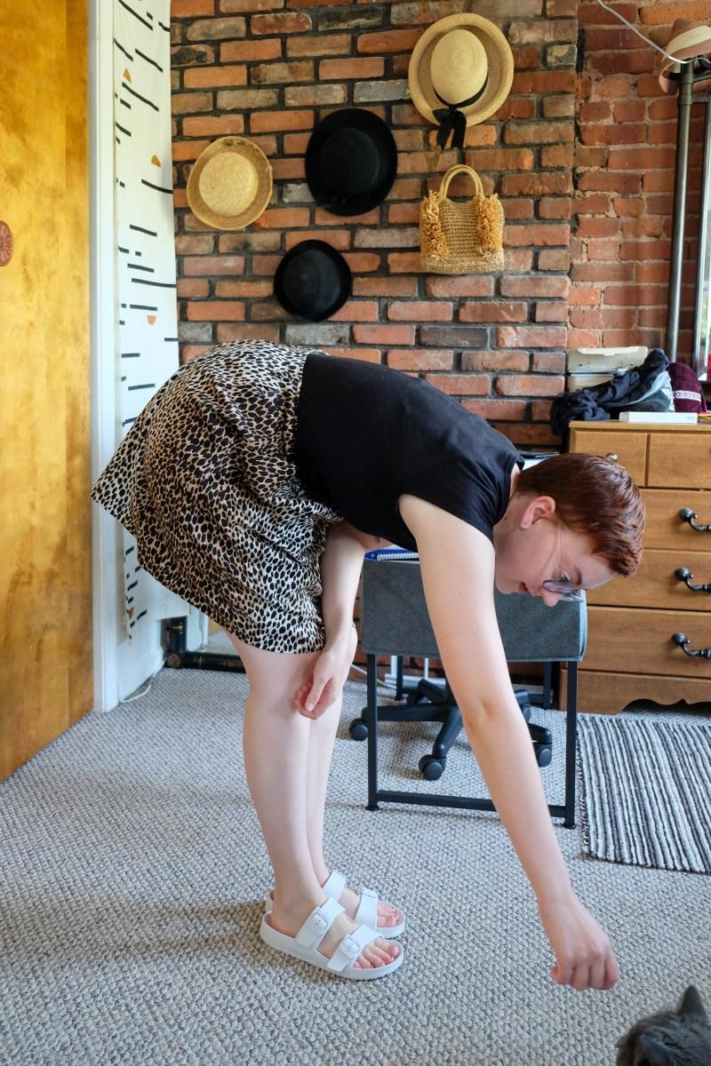 cheetah print skirt and Everlane tee