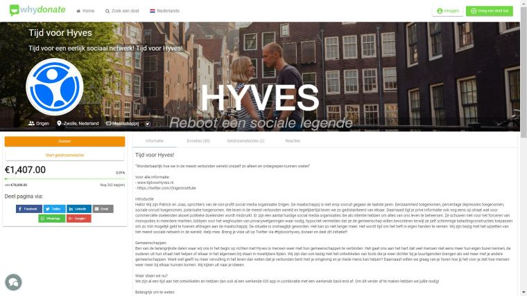 Crowdfunding Hyves op whydonate