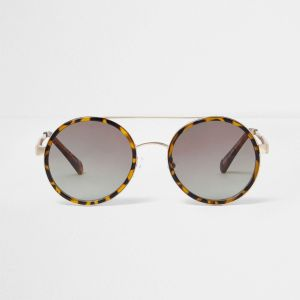 River Island Brown Tortoiseshell Round Sunglasses