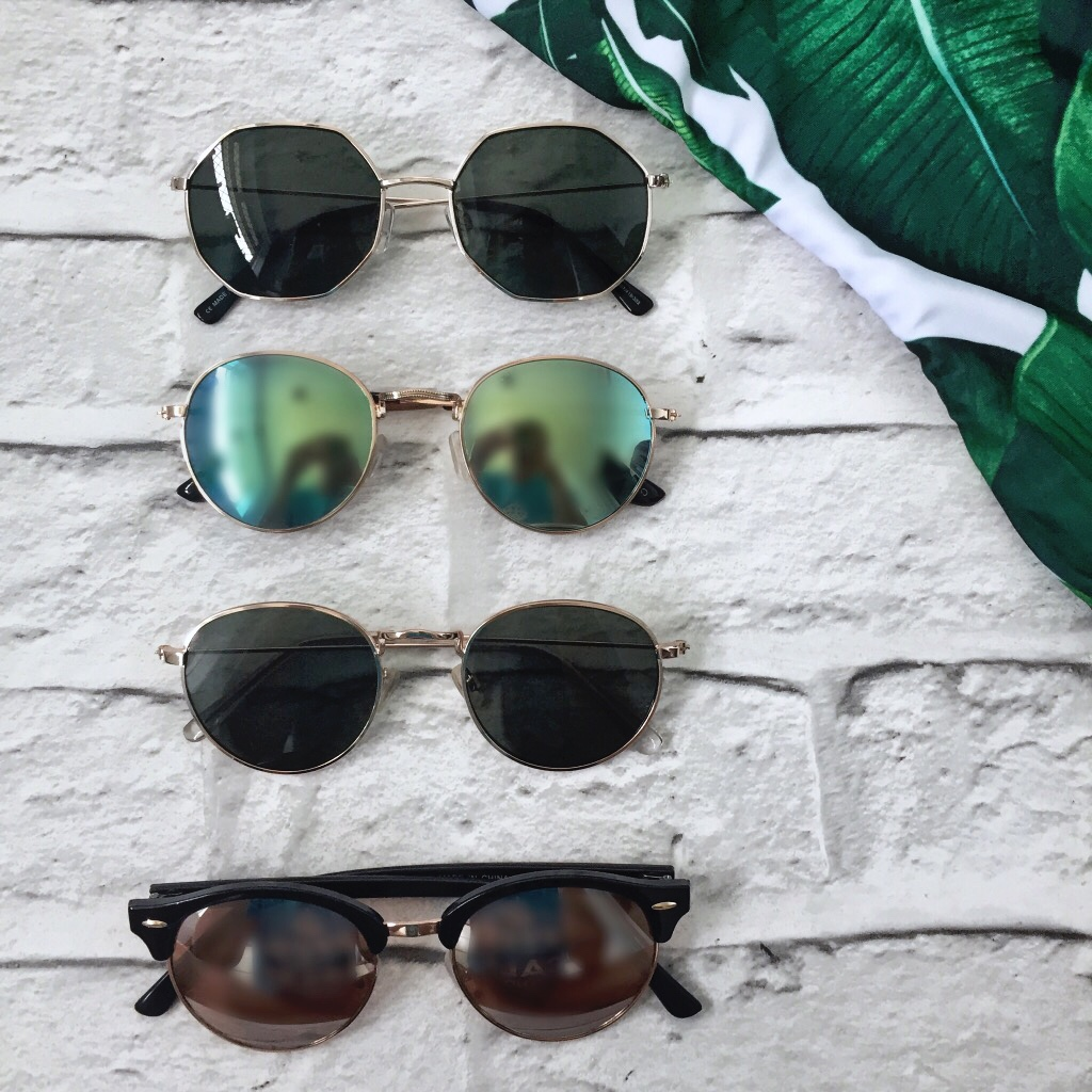 hexagonal sunglasses, round sunglasses, coloured mirror lens, clubmaster sunglasses, rayban dupes