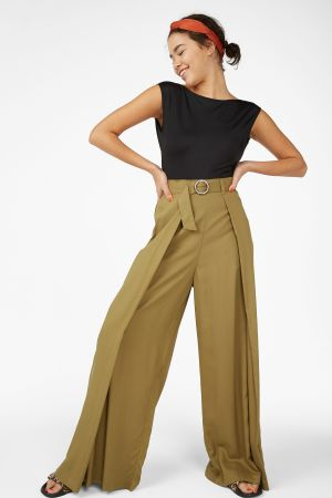 Khaki Wide Leg Beach Trousers