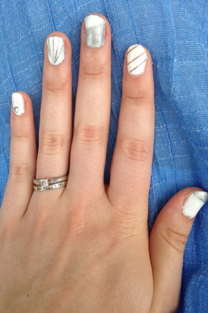 Silver and White Nails (Using Stripping Tape)