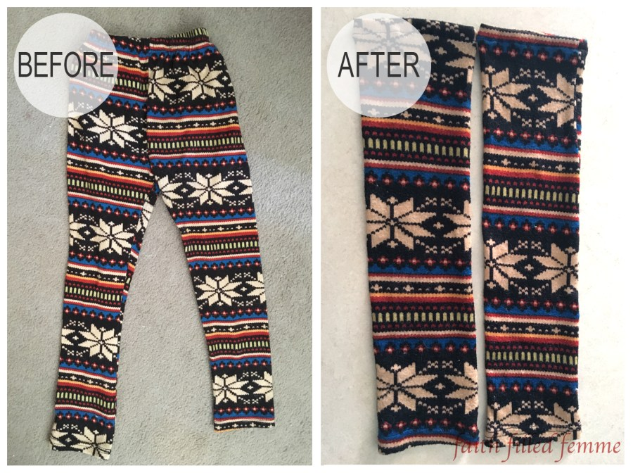 DIY Leggings into Legwarmers Before and After