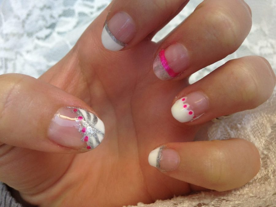 Pink and Silver French Tip Nails 1