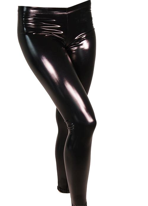 Black Shiny Leather Look Leggings