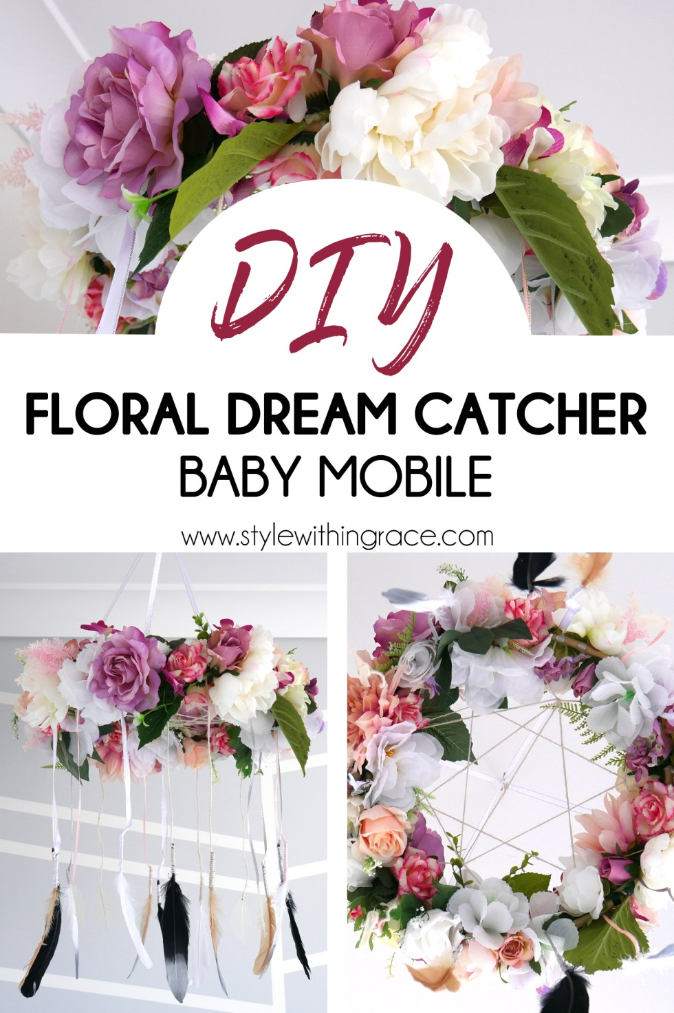 With a baby girl on the way, that means it's time for some seriously cute nursery DIYs. I decided on a spring boho floral type theme and to go along with that, I crafted a faux flower dream catcher baby mobile. Follow along below to make your own or if you're just curious how mine turned out.