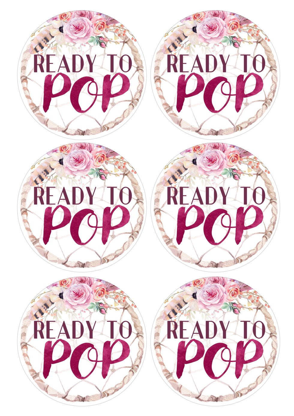Ready to Pop Baby Shower Popcorn Labels