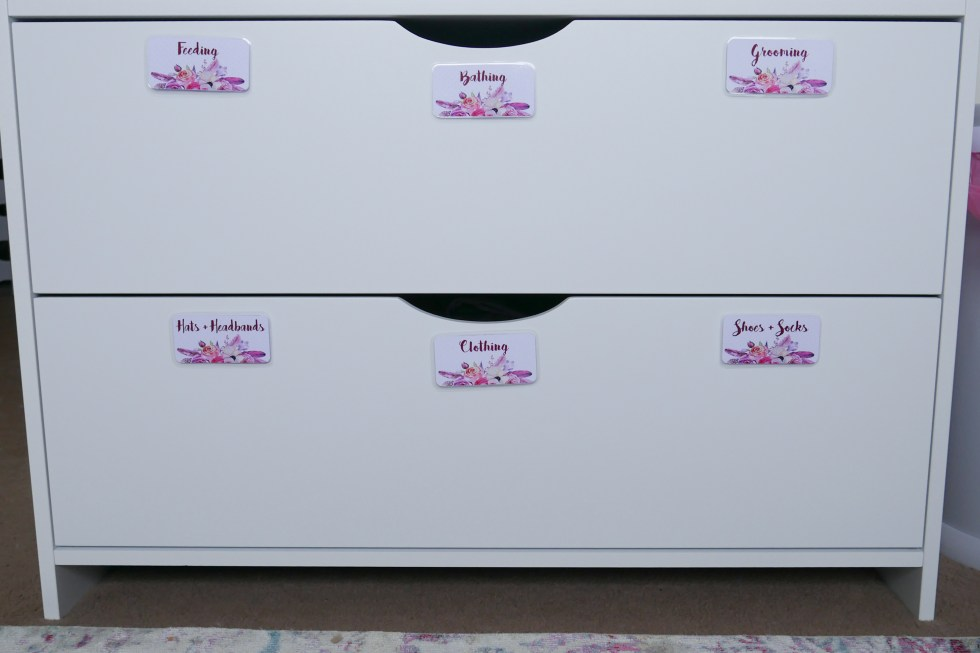 Floral Baby Nursery Reveal Change Table Drawers 1