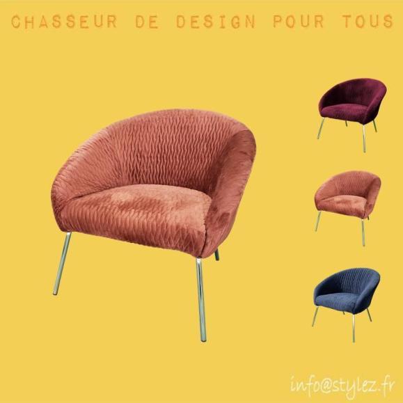 fauteuil velours colorés avec pieds argenté