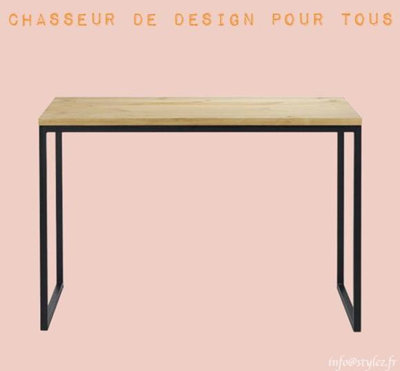 bureau en pin avec pieds métal
