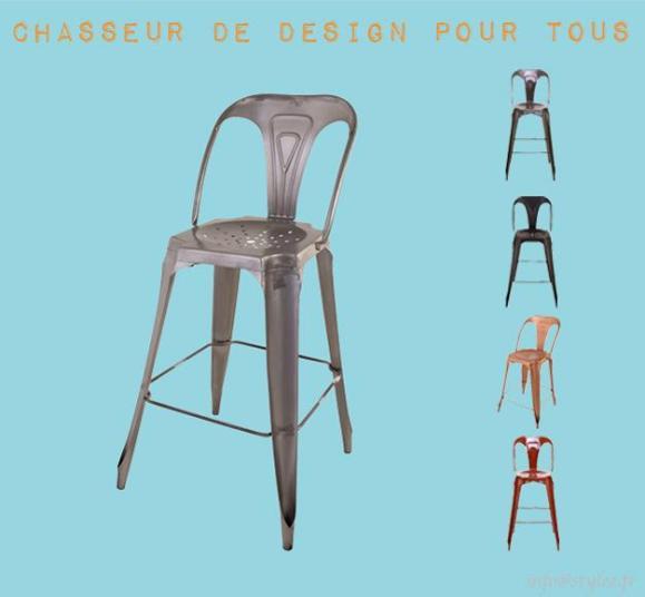 chaise de bar industrielle avec dossier en métal