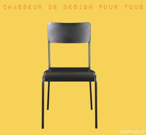 chaise métallique lisse gris anthracite