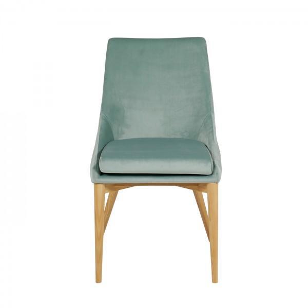 chaise en velours confort bleu ciel