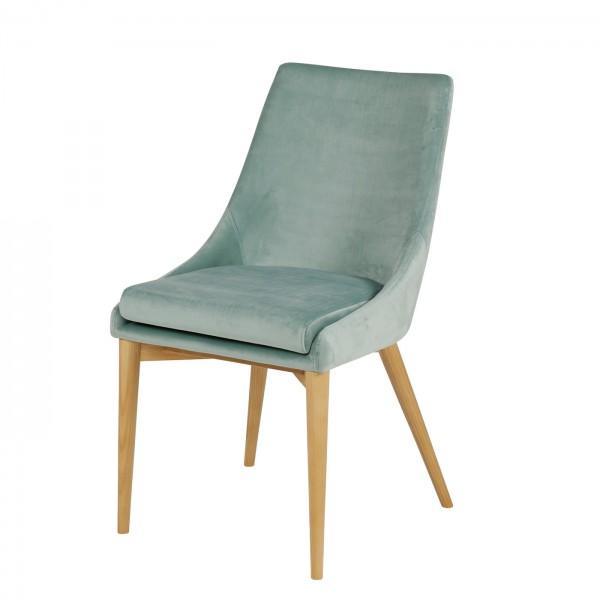 chaise en velours bleu ciel
