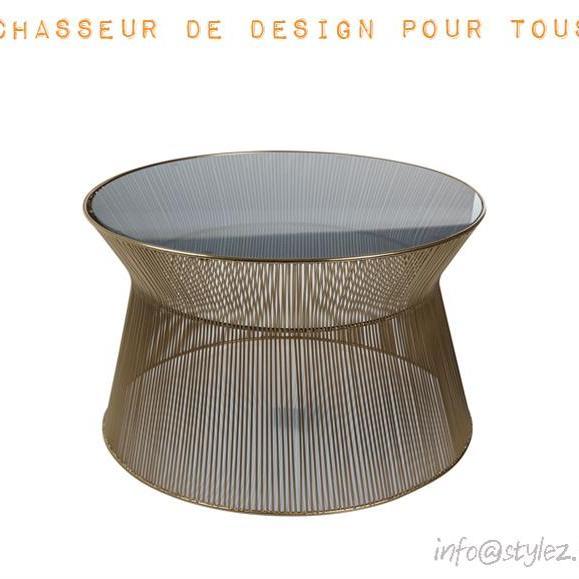 table basse dorée verre