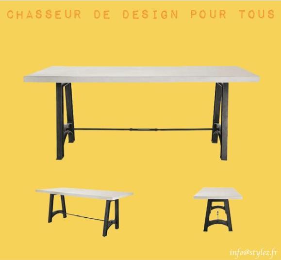 table design plateau béton gris