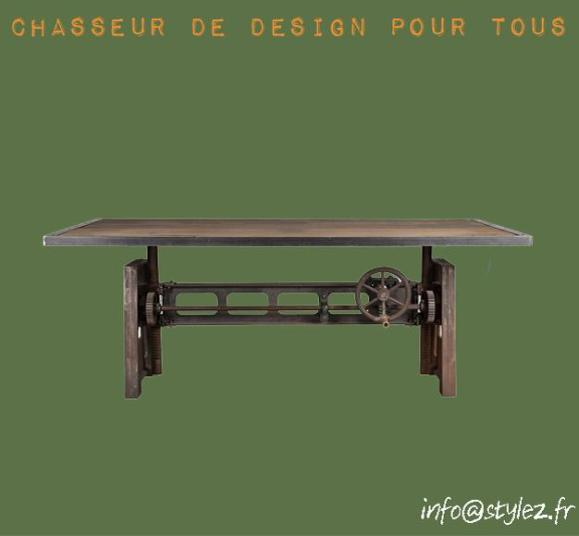 table industrielle transformable en plan de travail