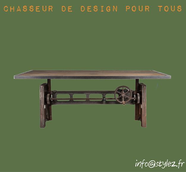 table industrielle transformable en plan de travail