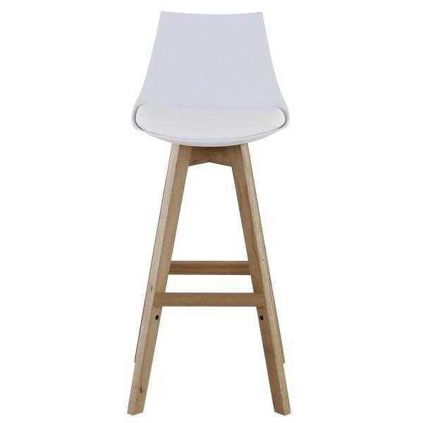 tabouret style scandinave couleurs blanche pieds en bois