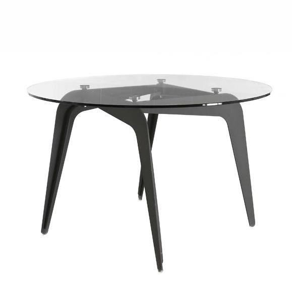 table circulaire élégante plateau verre