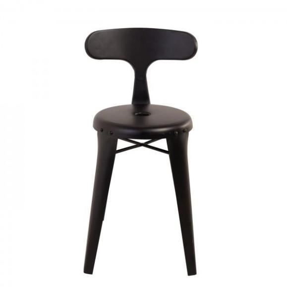 chaise industrielle vintage noir mate