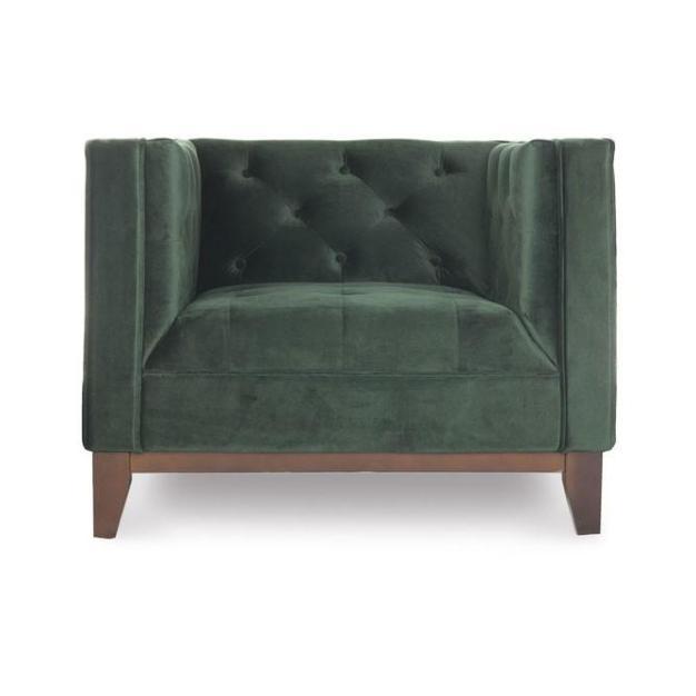 fauteuil velours vert sapin matelassé