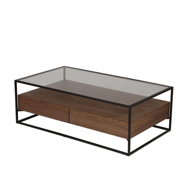 table basse chêne et verre moderne