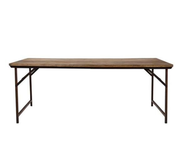 table pliable en bois et métal
