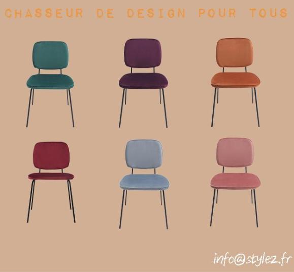 chaise écolier couleurs velours vintage