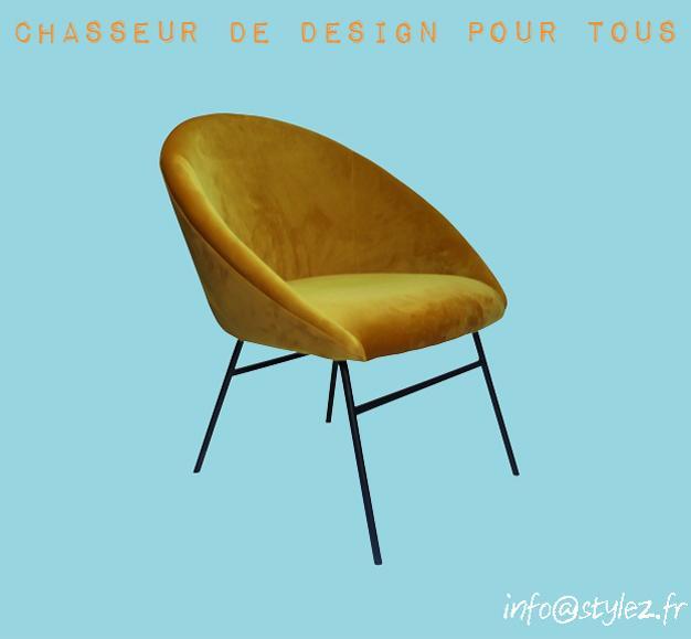 fauteuil jaune moutarde pieds noirs