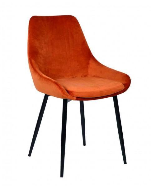 chaise moderne chaleureuse velours orange