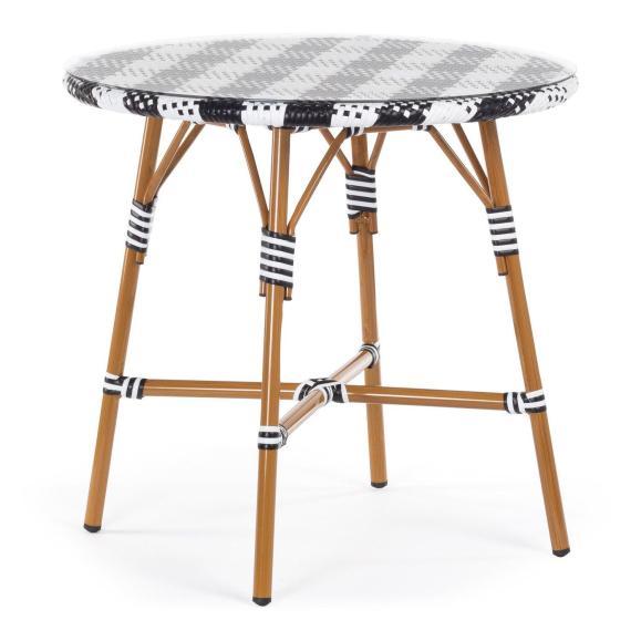 table bistrot plateau verre vintage blanc noir