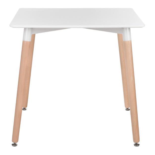 table scandinave blanche pieds hêtre