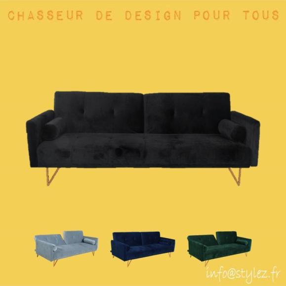 canapé lit velours design
