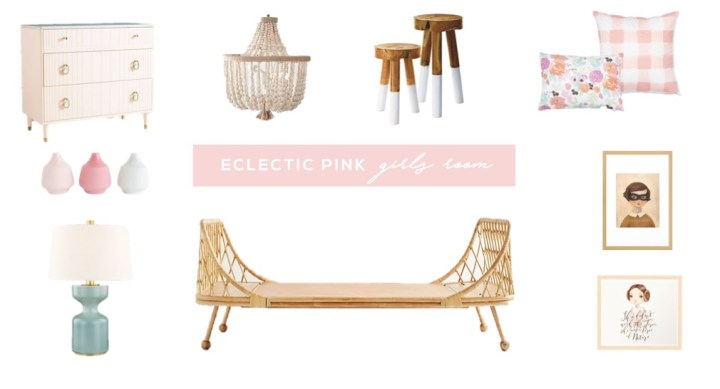 eclectic pink girls room design board featuring a rattan daybed, buffalo check pillows, floral pillows, wood bead chandelier, aqua table lamp and pink dresser. #girlsroom #girlsroomideas #kidsroom