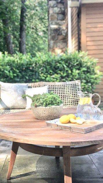 Styling Gypsy   The Beauty of Teak - 3 Stylish Ways to Use Teak in Your Outdoor Space   Teak patio table & outdoor furniture with succulent planter and outdoor entertaining decor