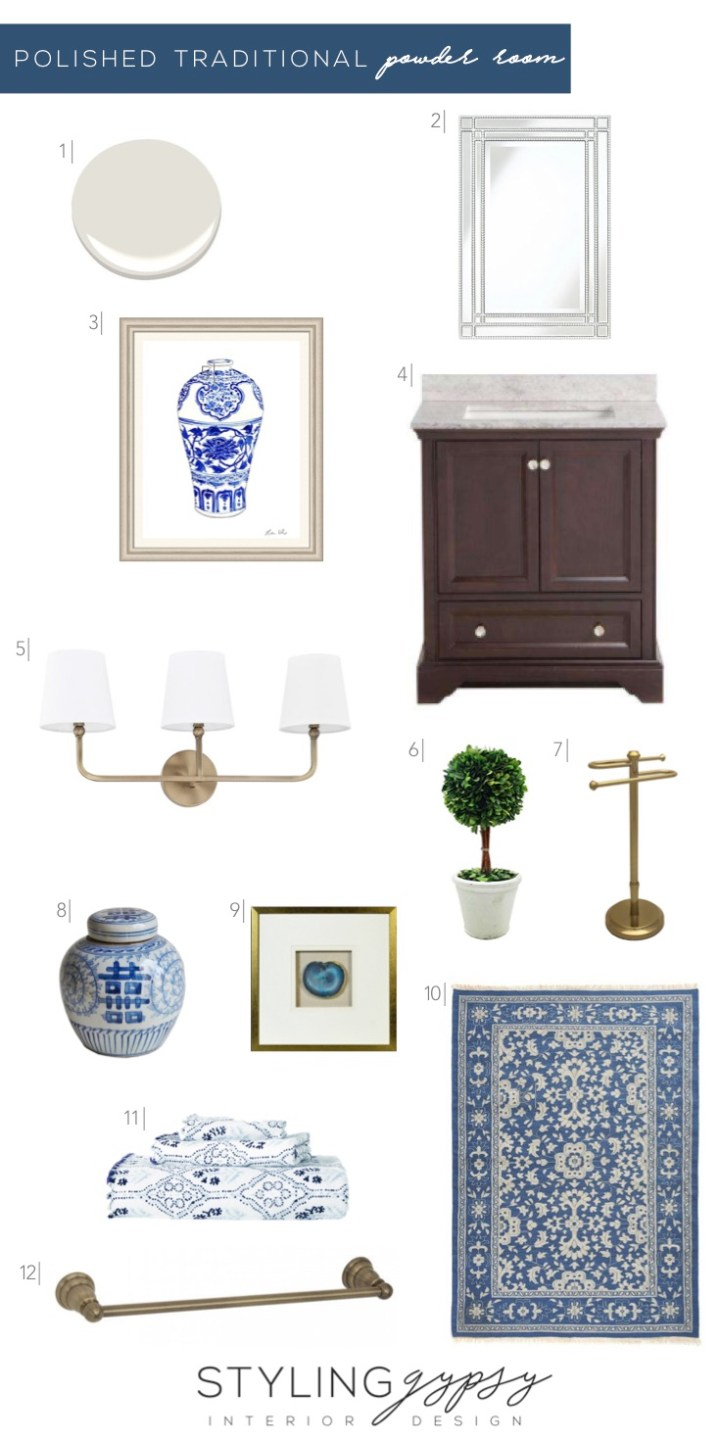 Design board for a polished traditional powder room from Styling Gypsy Interior Design. Featuring Benjamin Moore Classic Gray paint, silver beaded bathroom mirror, blue and white ginger jar art and decor, dark wood bathroom vanity, aged brass triple bathroom sconce, traditional blue Caitlin Wilson rug, framed agate slice art, aged brass bathroom hardware and preserved boxwood topiary.