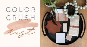 Styling Gypsy Interior Design inspiration flatlay for a rust color palette